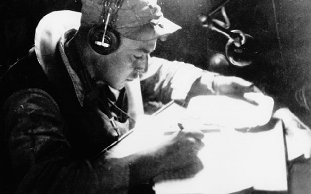 First Lt. Jack Widowsky prepares for the missions that would bring an end to World War II. Photo courtesy of the Widowsky family