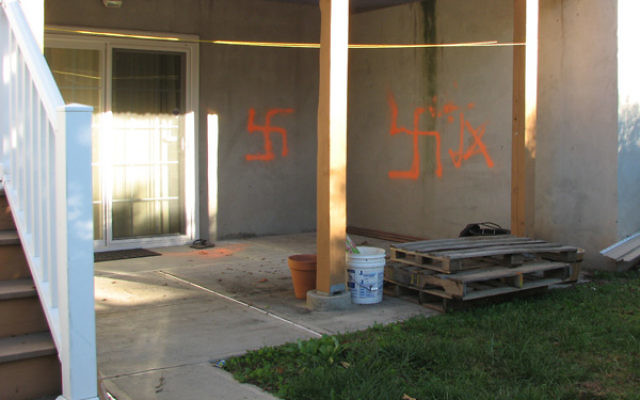 Swastikas spray-painted onto the Union home of Democratic congressional candidate Peter Jacob.