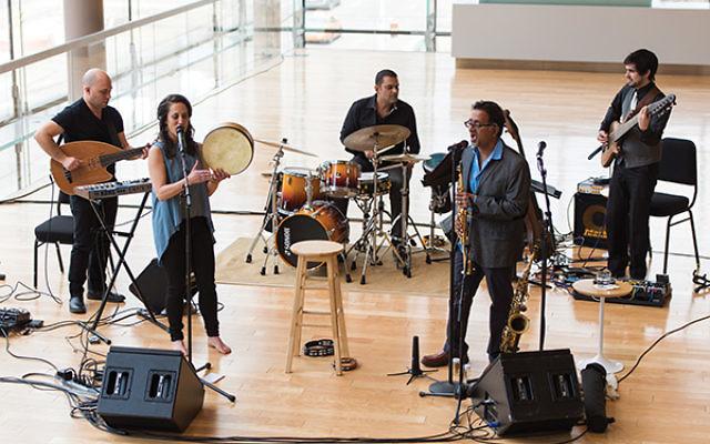 Members of the award-winning world music band include, from left, Justin Gray, Aviva Chernick, Sundar Viswanathan, Rakesh Tewari, and zAaron Lightstone. Photo Courtesy Jaffa Road