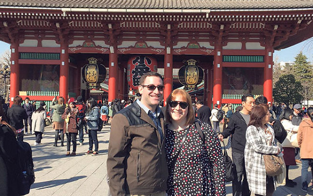 Danielle Ross and Adam Levoy at the Meiji Shrine in Tokyo, which was built in 1915 to honor the spirits of Emperor Meiji and Empress Shoken