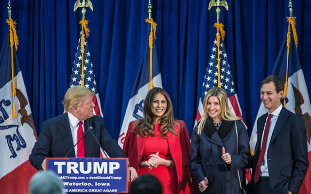 Jared Kushner, far right, standing next to his wife, Ivanka Trump, at a Donald Trump campaign rally in Waterloo, Iowa, Feb. 1, 2016. (Brendan Hoffman/Getty Images)