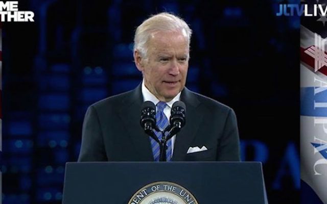 Vice President Joe Biden addressing the AIPAC policy conference in Washington, D.C., March 20, 2016. (YouTube screen capture)