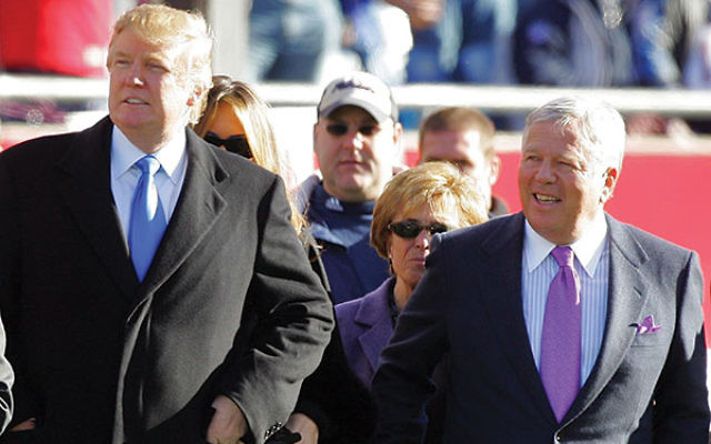 Before he was president, Donald Trump joined his friend Robert Kraft on the sidelines of a game.