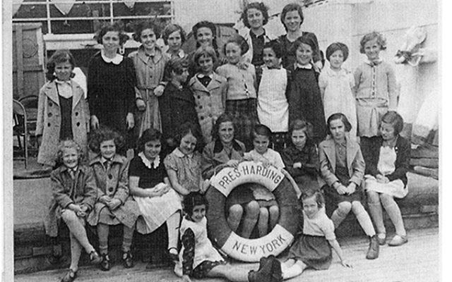 The rescued children aboard the USS President Harding on their way to the United States.