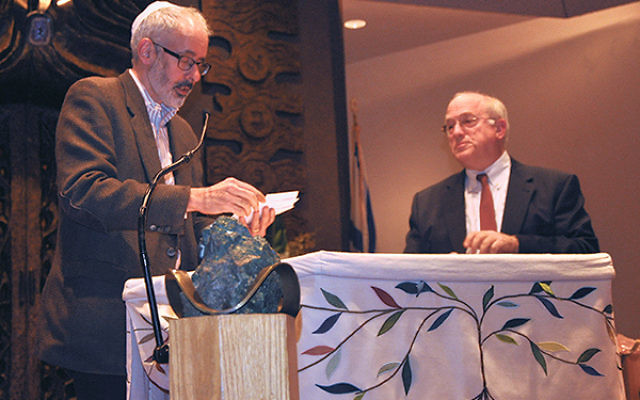 Ambassador Daniel Kurtzer, right, with Fred Appel, cochair of The Jewish Center's adult education committee.