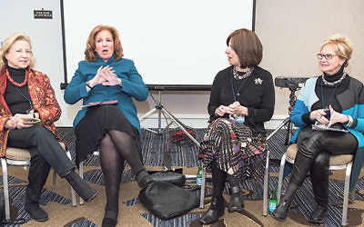 """Participating in the """"Where Are All The Women Leaders?"""" panel at Limmud FSU April 3 are, from left, Colette Avital, Susan Stern, Lori Palatnik, and Sandra Cahn."""
