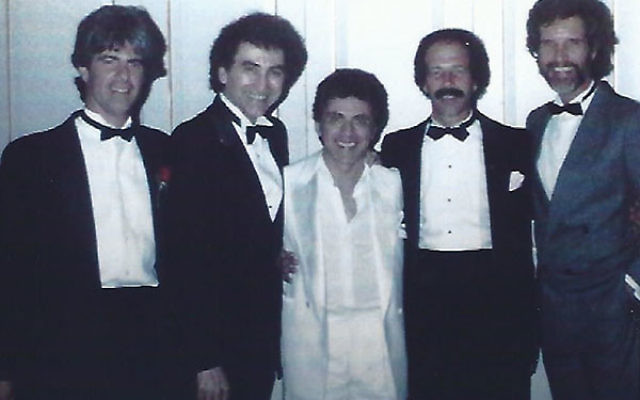 Frankie Valli, center, at his 1974 wedding at the Highlawn Pavillion in West Orange with singers and songwriters from The Four Seasons. From left, Sandy Linzer, bass player Joe Long, songwriter Michael Petrillow, and singer Bob Gaudio.