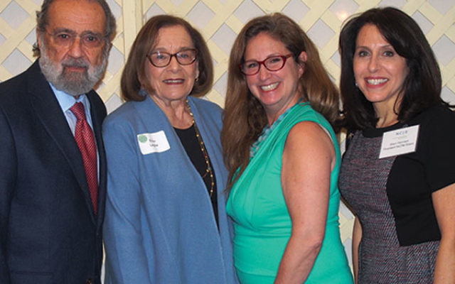 At the NCJW/Essex event are, from left, Donald and Ellen Legow, Dahlia Lithwick, and NCJW/Essex president Shari Harrison.