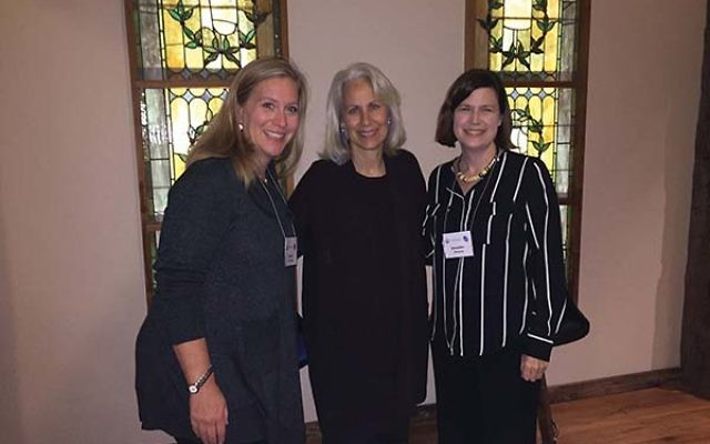 Author and journalist Lynn Povich, center, with Women's Philanthropy chair Debbie Friedman, left, and moderator Jennifer Altmann of East Brunswick. Photo Courtesy The Jewish Federation in the Heart of NJ