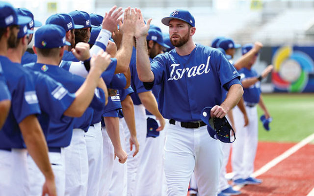 Ike Davis played for Team Israel during the World Baseball Classic qualifiers in September.(Alex Trautwig/MLB Photos via Getty Images)