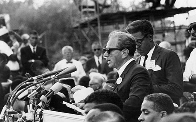 Joachim Prinz: I Shall Not Be Silent — being screened Jan. 17 at Congregation Beth El — chronicles the Newark rabbi's role as a leading civil rights activist; here Prinz addresses the crowd at the 1963 March on Washington, just
