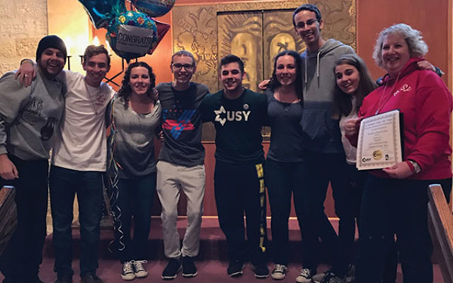 The MUSY crew who helped win the International USY Chapter of the Year Award included, from left, Gregory Yellin, Shawn Konichowsky, Gabrielle Kaplan, Cory Fox, Joshua Eiger, Jessica Kaplan, Seth Katz, Hannah Eiger, and Lori Solomon.