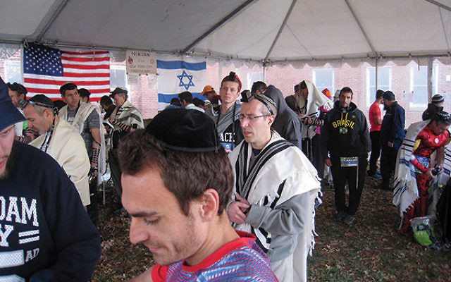 The morning minyan at the 2016 New York City Marathon.