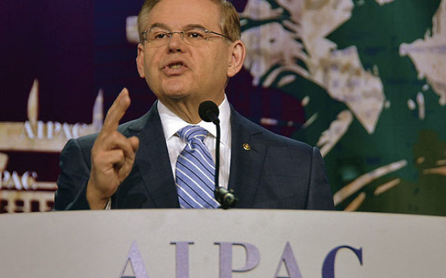 Sen. Robert Menendez (D-N.J.), shown speaking at aprevious AIPAC policy conference, supports legislation that would subject any Iran nuclear deal to congressional approval.