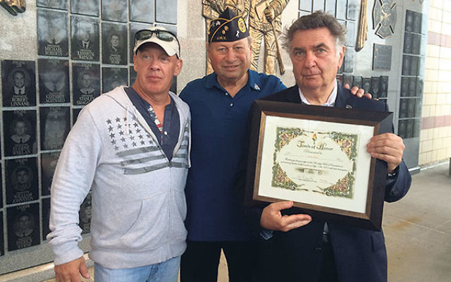 Sol Moglen, center, at the 9/11 memorial in Coney Island with John Feal, left, director of the Fealgood Foundation, an advocacy group for first responders, and Rabbi Joseph Potasnik, executive vice president of the NY Board of Rabbis, who previously serve