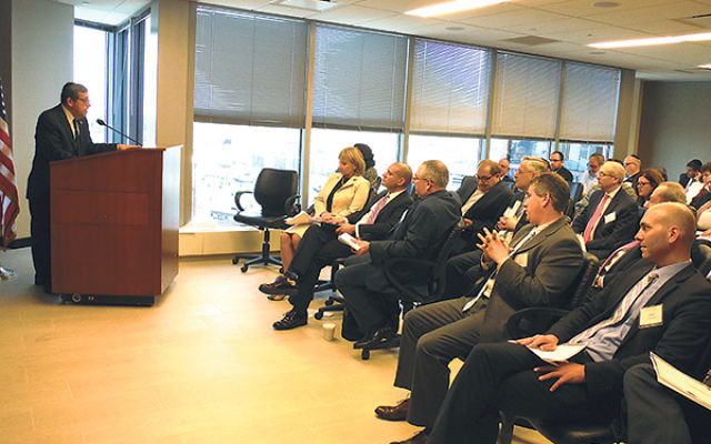 Chair Mark Levenson addresses a meeting of the NJ-Israel Commission, which focused on shared efforts to boost cyber security.