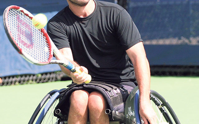 """Injured IDF veteran Noam Gershony, here competing in a wheelchair tennis tournament, said, """"We can change our perspective if we make the decision to meet every challenge."""""""
