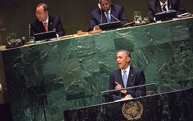 President Obama speaking before the United Nations General Assembly, Sept. 24.