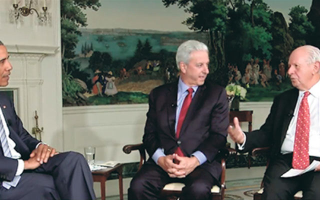 On his Aug. 28 webcast, President Obama — shown with Michael Siegal, center, board chair of the Jewish Federations of North America, and Steve Greenberg, chair of the Conference of Presidents of Major American Jewish Organizations — said that