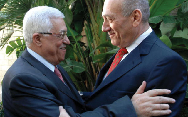 Israeli Prime Minister Ehud Olmert, on right, meets with Palestinian President Mahmoud Abbas in Jerusalem on Nov. 17, 2008. Moshe Milner/GPO via Getty Images