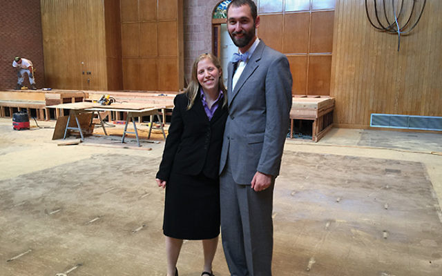 Rabbis Neil Tow and Rachel Schwartz, now sharing the pulpit at Temple Beth-El Mekor Chayim in Cranford, in the synagogue's sanctuary, currently under renovation. Photos by Johanna Ginsberg
