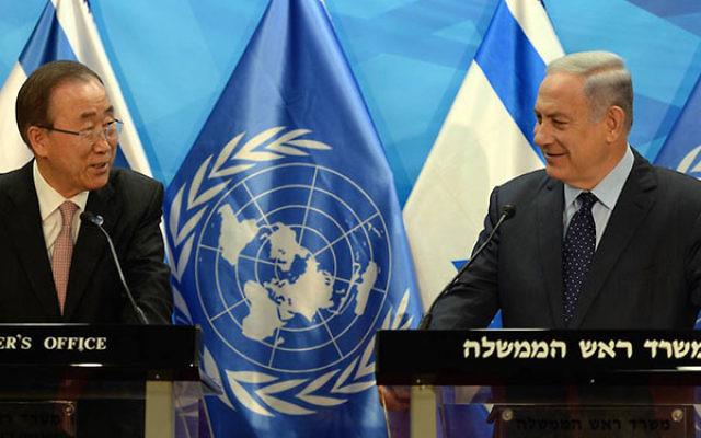 United Nations Secretary-General Ban Ki-Moon, left, and Israeli Prime Minister Benjamin Netanyahu meeting in Jerusalem, June 28, 2016. (Haim Zach, GPO)