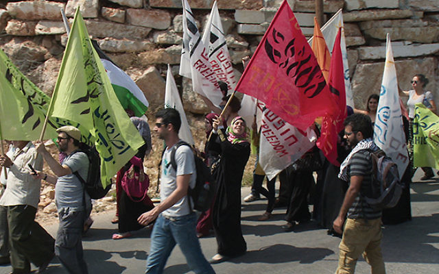 """Israelis march on one side of a fence near Beit Jala in a 2014 demonstration for peace; Palestinian activists march on the other side. Photo from """"Disturbing the Peace"""""""