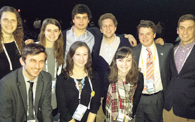 Kate Gardner, first row, right, with other members of the Princeton delegation to the AIPAC conference; attending, she said, expanded her knowledge about what is happening in Israel and issues around Iran.