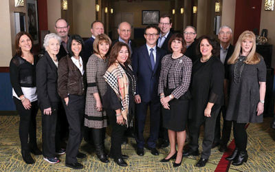 The Prizmah board includes two philanthropists from the Greater MetroWest NJ community: Paula Gottesman, first row, second from left, and Brad Klatt, second row, second from left.