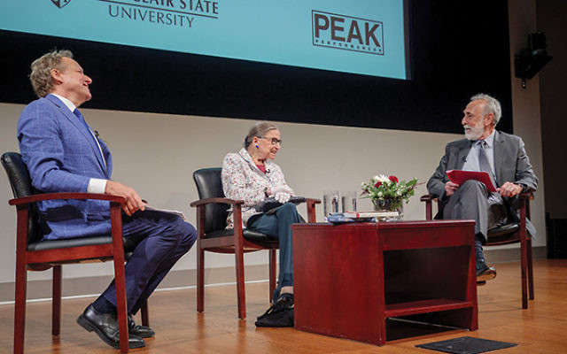 Justice Ruth Bader Ginsburg participated in a roundtable discussion with Shakespearean scholars David Scott Kastan of Yale University, at right, and James Shapiro of Columbia University. Photos by Mike Peters