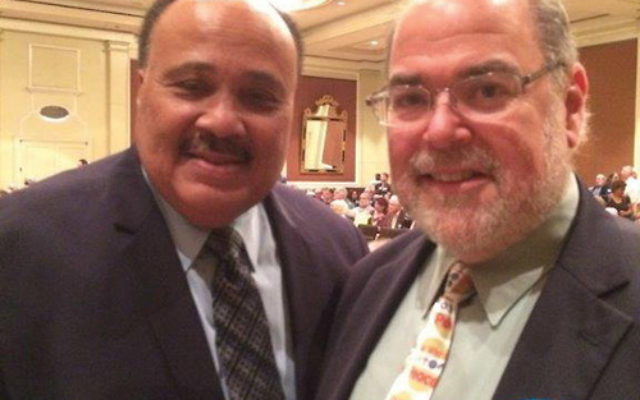At the Washington rally and prayer breakfast, Rabbi Marc Kline, right, reconnected with Martin Luther King III. Photo courtesy Rabbi Marc Kline