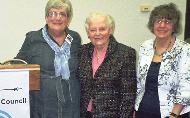 With Holocaust survivor Ruth Ravina, center, are Sue Rosenthal, left, past chair of the Holocaust Council of Greater MetroWest, and Susan Neigher, copresident of NCJW, West Morris Section.