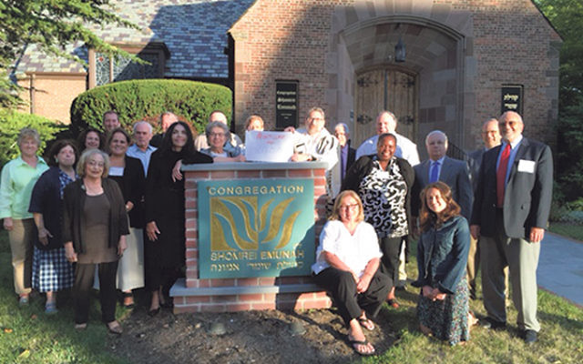 "Shomrei Emunah in Montclair has added its photo to MoveOn.Org's ""America Welcomes"" initiative."