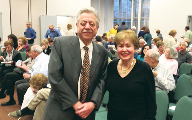 Food writer Alan Richman was welcomed by Linda Forgosh at the 25th anniversary celebration of the Jewish Historical Society of New Jersey.