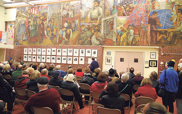 About 65 visitors visited Roosevelt on Nov. 16 to view a fresco by famed artist Ben Shahn in the Roosevelt School auditorium.