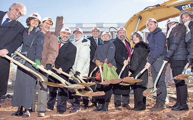 Members of the Halpern/Stein family and Rutgers Hillel leaders help break ground for the new Eva and Arie Halpern Hillel House at Rutgers University — from left, Chick Paradis, Nanette Brenner, Arthur Brenner, Hillel executive director Andrew Getrae