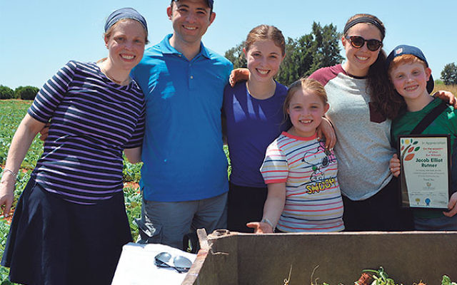 On a break from picking kohlrabi are the Rutners, from left, Juliet and Torin and their children Chana, Rachel, Elana, and Jacob, holding his certificate of appreciation from Leket.