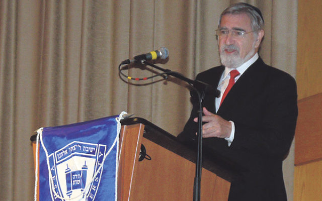 Rabbi Lord Jonathan Sacks, former chief rabbi of Great Britain, spoke about responsibility and the High Holy Days on the Kushner campus in Livingston.