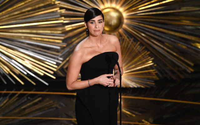 Sarah Silverman speaking at the 88th Annual Academy Awards in Los Angeles, Feb. 28, 2016.