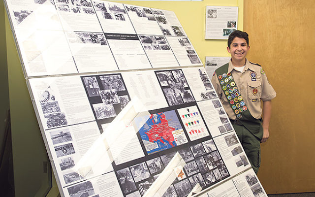 For his Eagle Scout service project, Alex Roberts created a video and exhibit honoring Holocaust survivors now living in the local area. The exhibit's permanent home will be the headquarters of Jewish Federation in the Heart of New Jersey.
