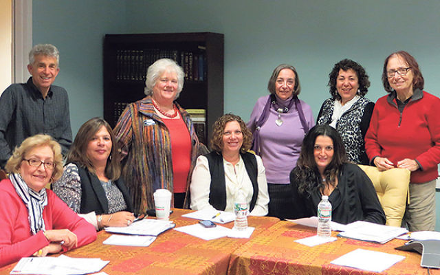 Some of the representatives from the synagogues and agencies partnering in Wilf Community Connects are, from left, Marcia Eisenberg and Maurice Rosenstraus, Anshe Emeth Memorial Temple; Lauren O'Gorman, Toby Ehrlich, Gayle Braunstein, and Rina Richa