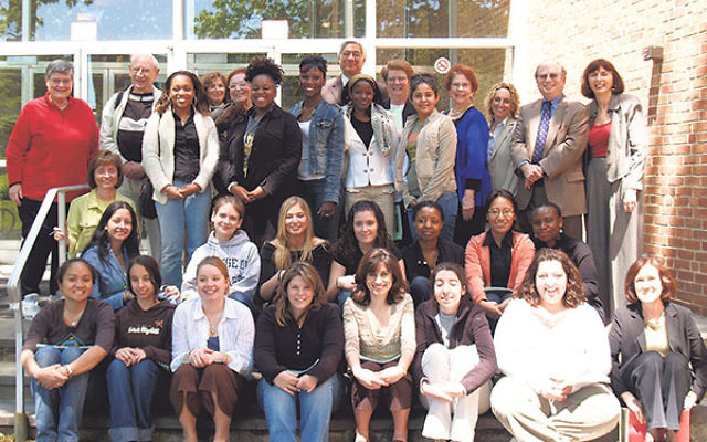 Harriet Sepinwall, far right, back row, with students from the College of Saint Elizabeth before departing for Poland for a March of the Living trip in 2006.