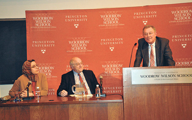 With Amb. Robert Serry, at the podium, are event cohosts Amaney Jamal, associate professor of politics and Bobst Center director, and Daniel Kurtzer, former U.S. ambassador to Israel and Egypt and visiting professor in Middle East policy studies at the Wo