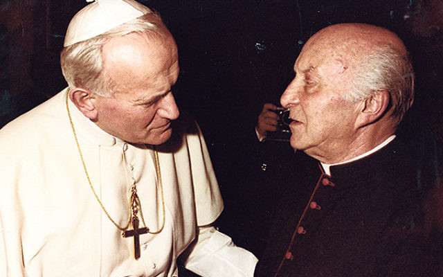 "Fr. John Oesterreicher, shown at the Vatican with Pope John Paul II, contributed the chapter on Catholicism's bond to the Jewish people in the declaration ""Nostra Aetate."""