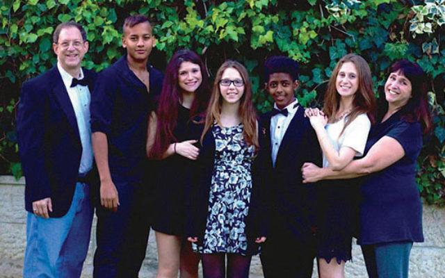Susan Silverman and her husband, Yosef Abramowitz, with their children, from left, Adar, Aliza, Ashira, Zamir, and Hallel at Ashira's bat mitzvah in Jerusalem, December 2015. Photo courtesy Susan Silverman