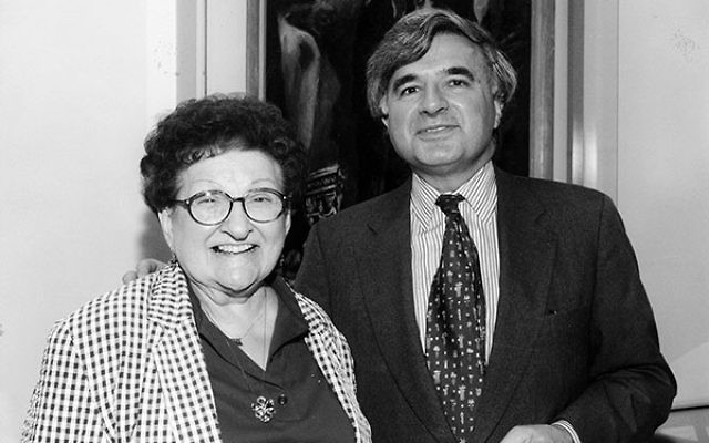 At an event a few years before her passing, Sister Rose Thering shares a moment with Robert Werbel, a founding member of the fund named for her.