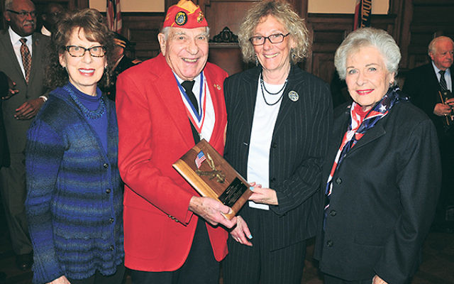 Honoree Murray J. Sklar with, from left, his daughter, Robin Oettle; Essex County Freeholder Vice President Patricia Sebold; and his wife, Harriet.
