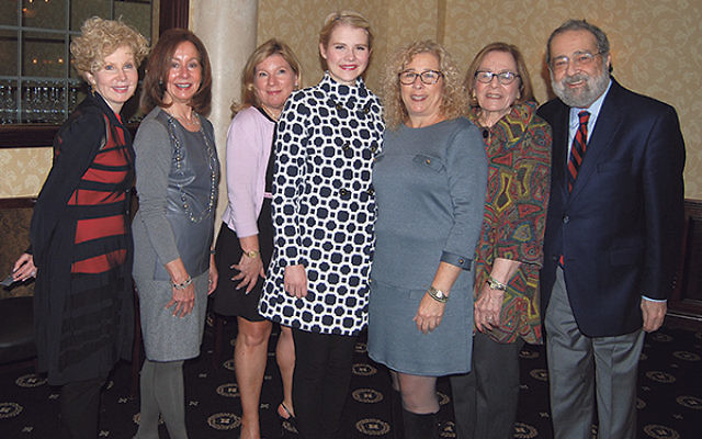 At the 2014 opening event of NCJW/Essex are, from left, section vice president Anita Cohen, event cochairs Joan Gabin and Stacey Rudbart, keynote speaker Elizabeth Smart, section president Deborah Legow Schatz, and her parents, event sponsors Ellen and Do