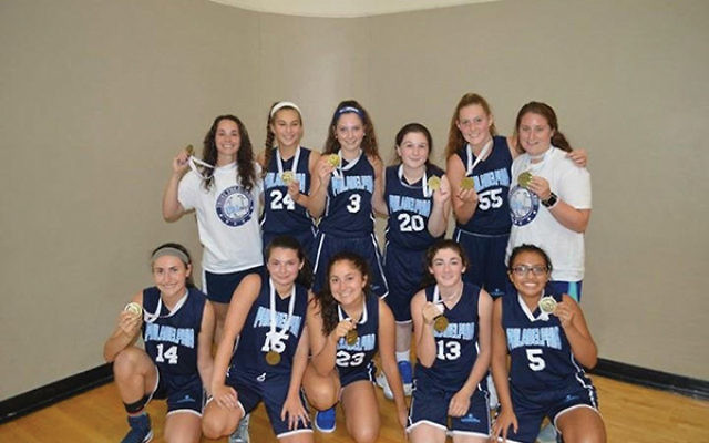 The Philadelphia girls' basketball team won gold in the 2017 Miami JCC Maccabi Games; Brooke Smukler of Princeton Day School is in the middle of the front row. Photo courtesy Lisa Smukler