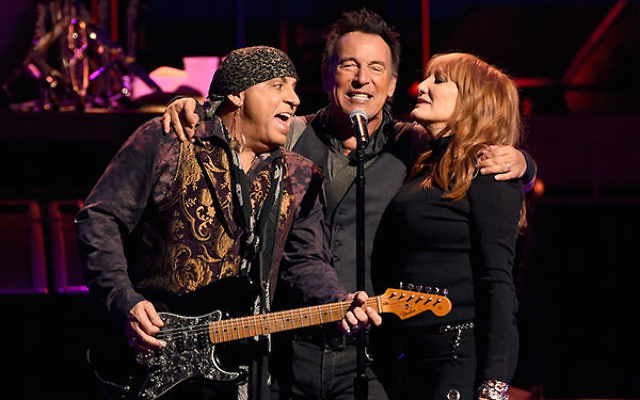 Steven Van Zandt, left, Bruce Springsteen and Patti Scialfa of Bruce Springsteen and the E Street Band performing at the Los Angeles Sports Arena, March 15, 2015. (Kevin Winter/Getty Images)